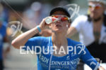 Julia Gajer competes during the run leg of the Ironman…