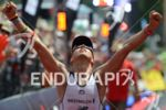 Andreas Boecherer celebrates at the finish of the Ironman European…