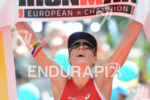 Daniela Ryf celebrates at the finish of the Ironman European…
