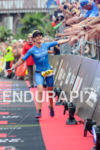Julia Gajer celebrates at the finish of the Ironman European…