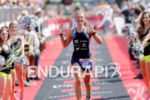 Mareen Hufe celebrates at the finish of the 2015 Ironman…