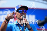 """Mike Relley """"the voice of Ironman"""" during the finish  line…"""