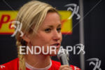 Jodie Swallow at the pre-race press conference of the 2015…