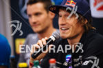 Jan Frodeno and Sebastian Kienle (l-r) at the pre-race press…