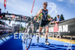 Athlete finishing the bike lef of inaugural 2015 Ironman 70.3…