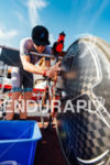 Tim Reed prepares his bike before the start of the…