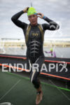 Amanda Stevens exits the water at Ironman Arizona on November…