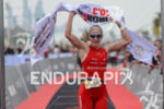 Daniela Ryf celebrates at the finish line at the 2016…
