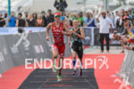 Carolne Steffen, Kaisa Lehtonen (l-r) sprint at the finish line…