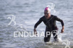 Holly Lawrence completes the swim  at Escape From Alcatraz Triathlon…