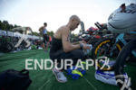 Justin Park preps his transition area at the 2016 Ironman…