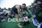 Andy Potts preps his transition area at the 2016 Ironman…