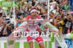Jan Frodeno celebrates at the finish at Challenge Roth in…