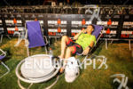 Athlete relaxes before the race at Ironman 70.3 Vichy in…