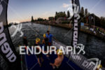 Athletes checking hands before the start at Ironman 70.3 Vichy…