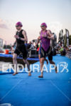 Catherine Faux (GBR) and Diana Riesler (GER) finishing the first…
