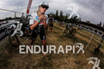 Celine Shaerer exiting the secong transition at Ironman Vichy in…
