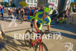 Athlete mounting his bike at the Monona Terrace Helix at…