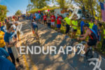 Age group athletes climbing through the crowds at the 2016…