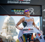 A happy Clay Emge finishes in first place at the…