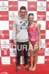 Alistair Brownlee and Heather Lawrence at the finish line of…