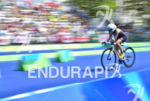 Gwladys Lemoussu during the bike portion of the 2016 Rio…