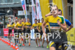 Ben Shawn leads the the run leg at the 2017…