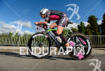 Michelle Vesterby (DNK) competes during the bike leg at the…