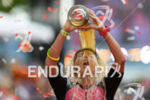 Michelle Vesterby (DNK) celebrates at the finish line at the…