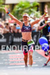 Sarah Crowley (AUS) celebrates at the finish line at the…