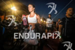 A female athlete gets ready to compete at Ironman France…