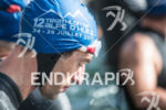 Athlete concentrates before the Alpe d'Huez Long distance Triathlon in…