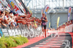 Sarah True during the finish portion of the 2017 Ironman…