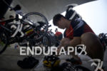An age grouper preps his transition area at the 2017…