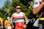 Javier Gomez during the run portion of the 2017 Ironman…