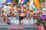 Sarah Crowley (AUS) at the finish of the 2017 Ironman…