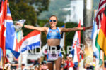 Kaisa Sali (FIN) at the finish of the 2017 Ironman…