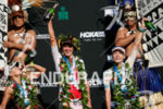 Women's podium at the 2017 Ironman World Championship in Kailua-Kona,…