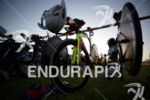 The pro transition rack at Escape From Alcatraz Triathlon on…