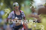 Sarah Crowley during the run leg at the 2018 Ironman…