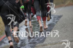 The swim exit at the 2019 Ironman Santa Rosa triathlon…